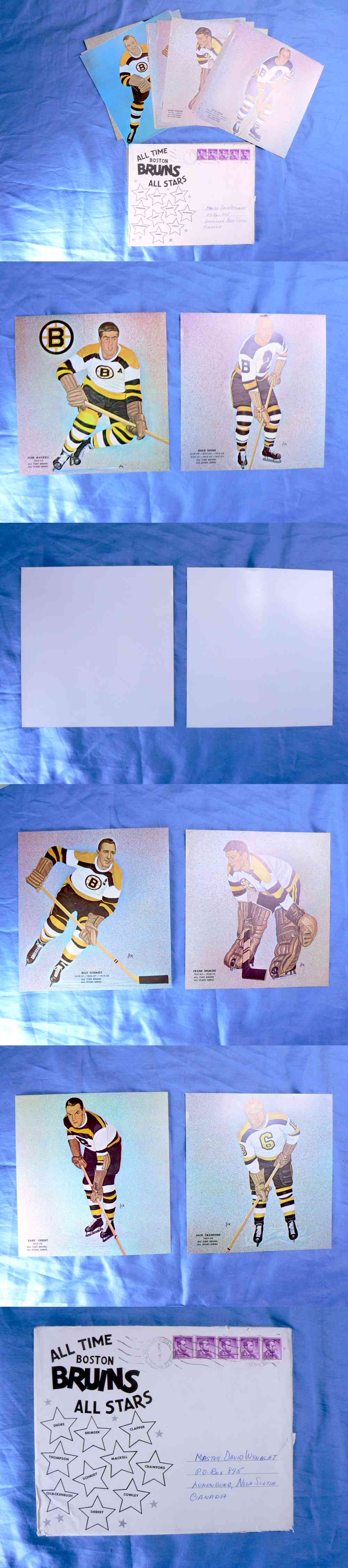 1961-62 BOSTON BRUINS ALL STARS ALL TIME FULL TEAM SET PHOTO 10/10 & ENVELOPE photo