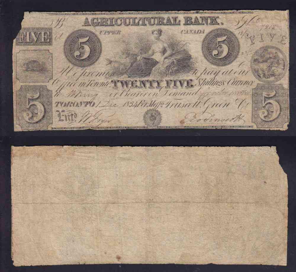 1834 CANADA AGRICULTURAL BANK 5$ DOLLAR CHARTERED BANK NOTE photo