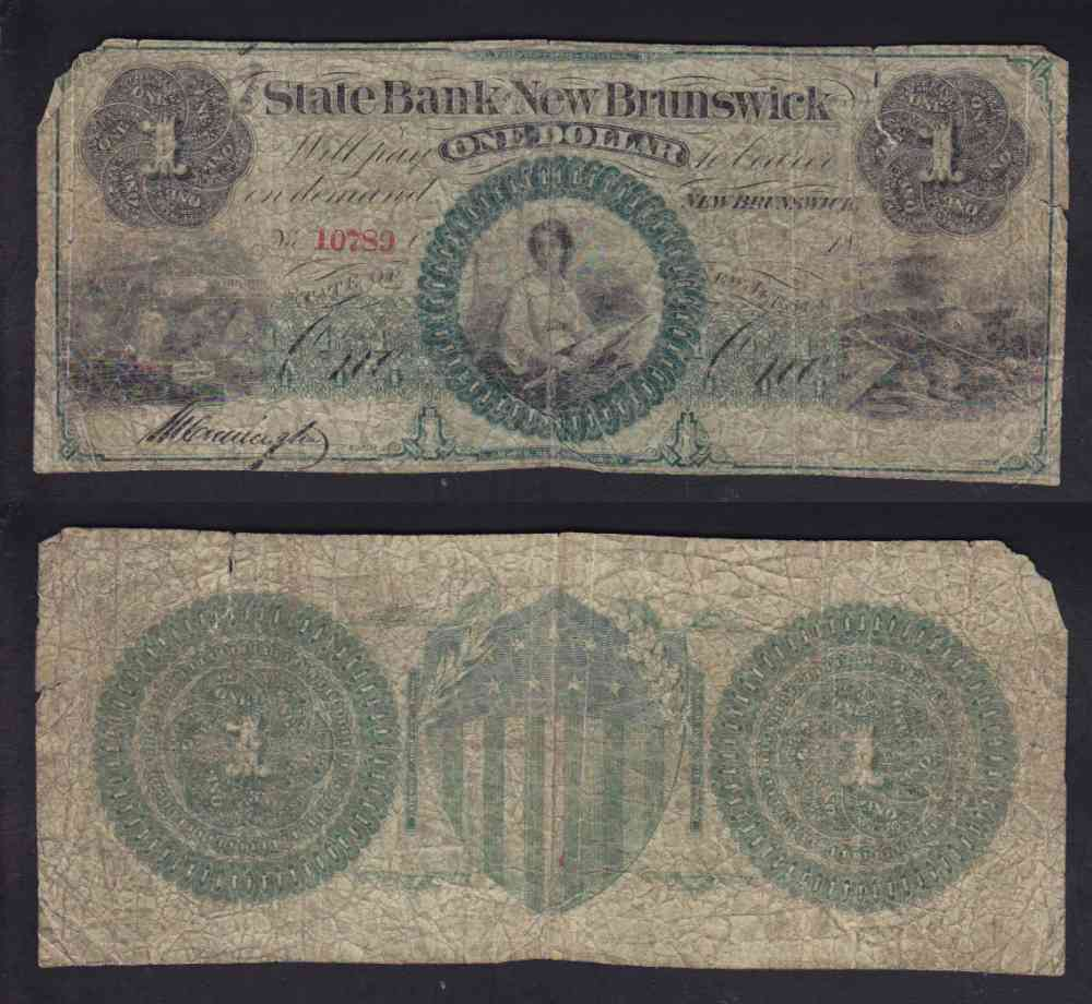 1860 CANADA 1$ DOLLAR STATE BANK AT NEW BRUNSWICK CHARTERED BANK NOTE photo
