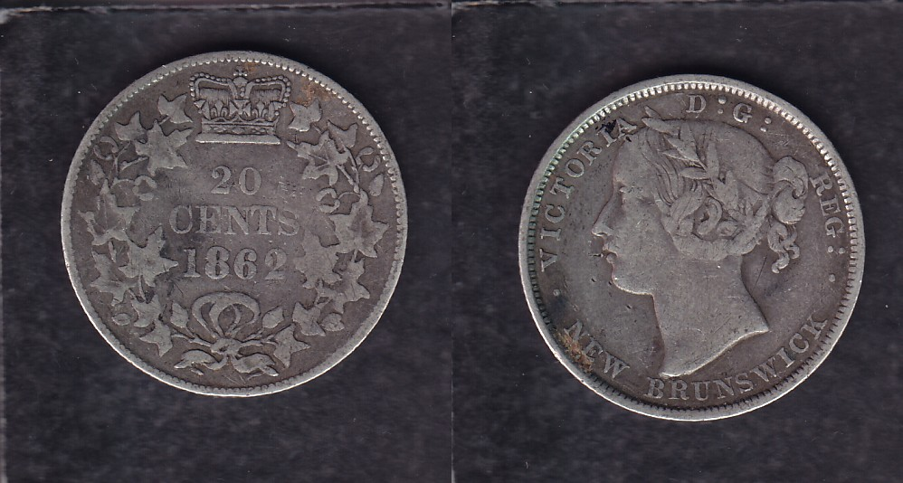 1862 CANADA NEW BRUNSWICK 0.20$ CENTS SILVER COIN photo