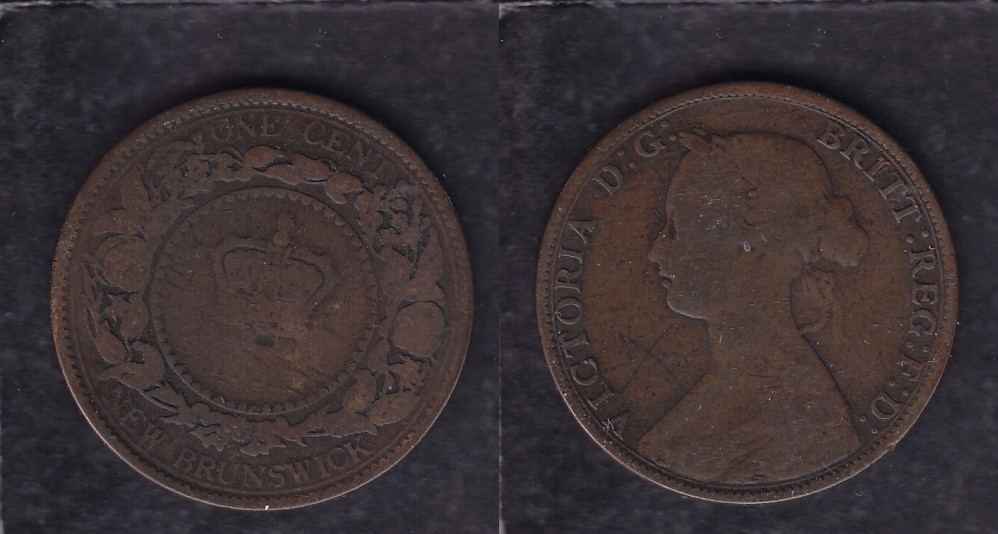 1861 CANADA NEW BRUNSWICK 0.01$ CENT COIN photo