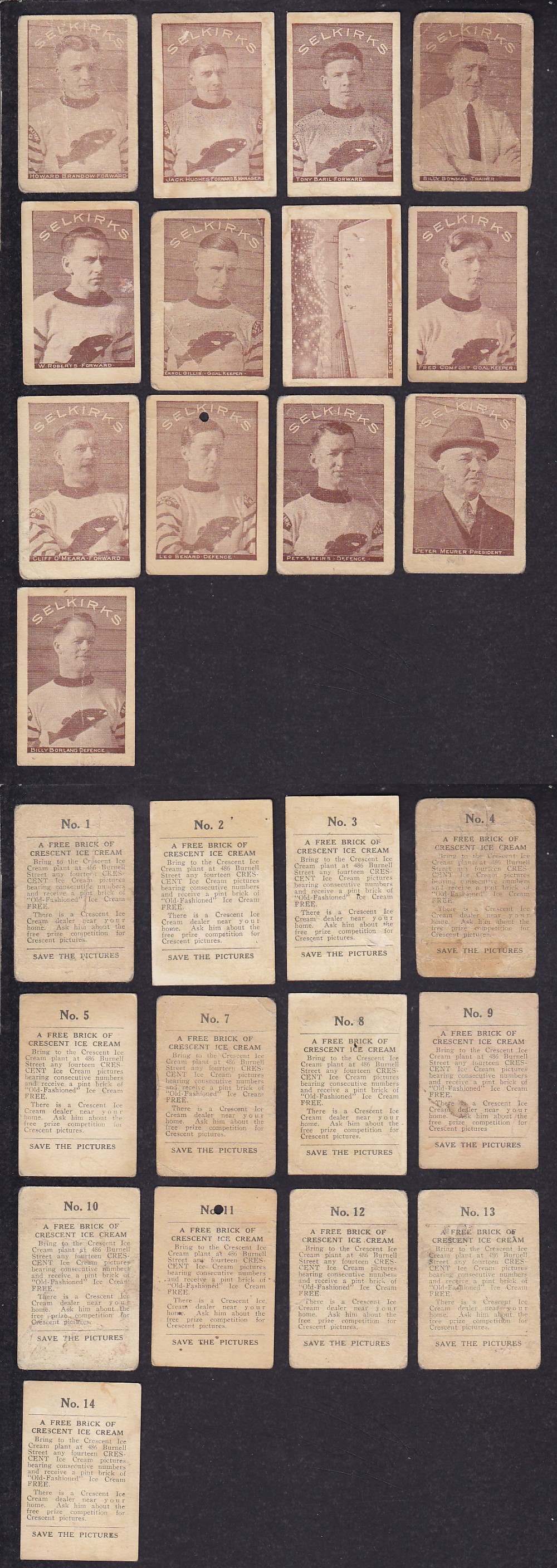 1924-25 CRESCENT SELKIRKS HOCKEY CARD NEAR SET 13/14 photo