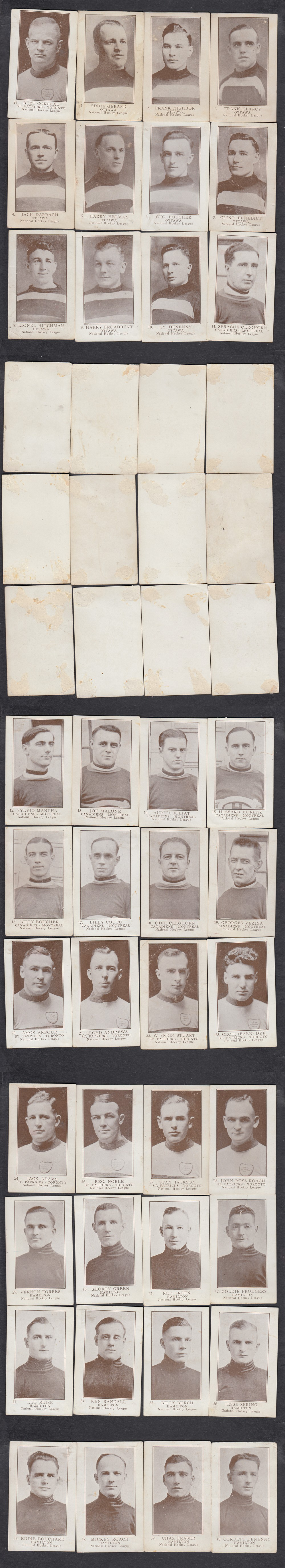 1923-24 WILLIAM PATERSON HOCKEY CARD FULL SET 40/40 INC B. CORBEAU photo