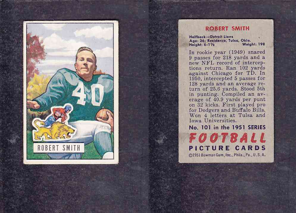 1951 NFL BOWMAN FOOTBALL CARD #101 R. SMITH photo