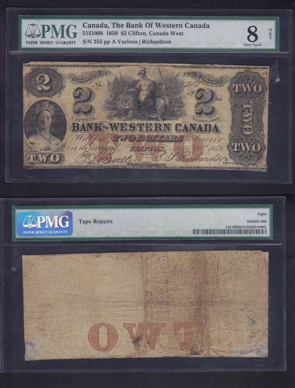 1859 CANADA 2$ DOLLAR BANK OF WESTERN CANADA CHARTERED BANK NOTE photo
