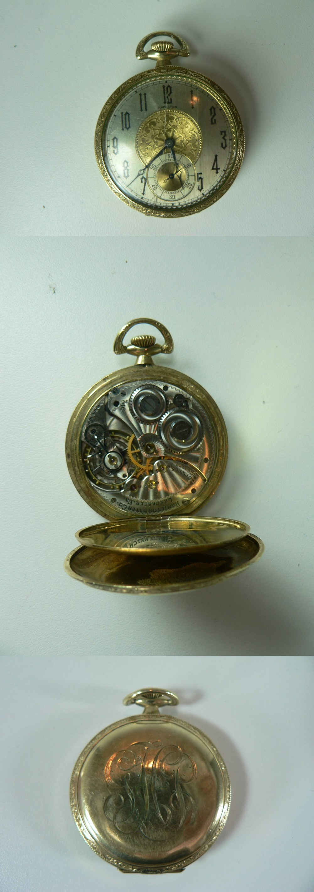 VINTAGE HAMILTON 17 JEWELS GOLD FILLED POCKET WATCH photo