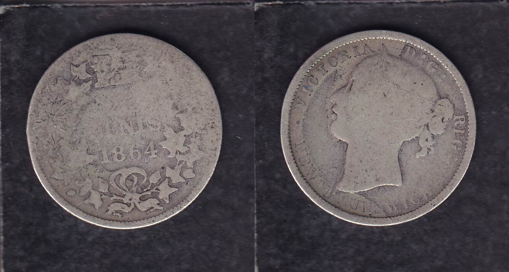 1864 CANADA NEW BRUNSWICK 0.20$ CENTS SILVER COIN photo