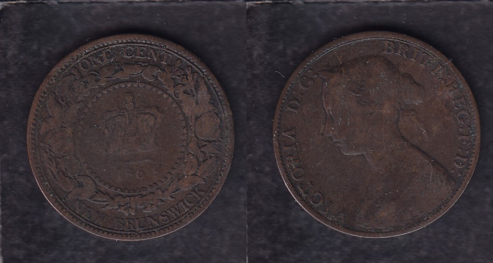 1864 CANADA NEW BRUNSWICK 0.01$ CENT COIN photo