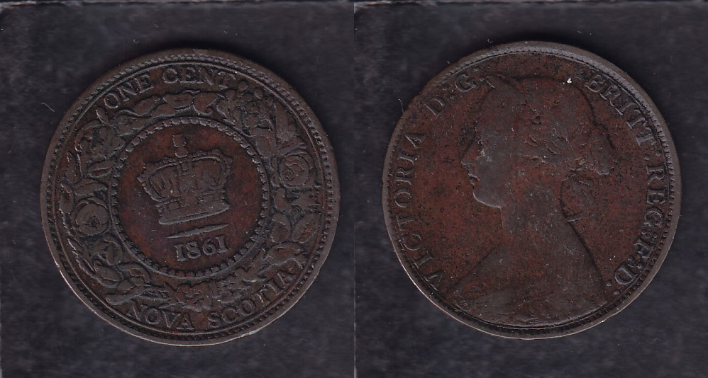 1861 CANADA NOVA SCOTIA 0.01$ CENT COIN photo
