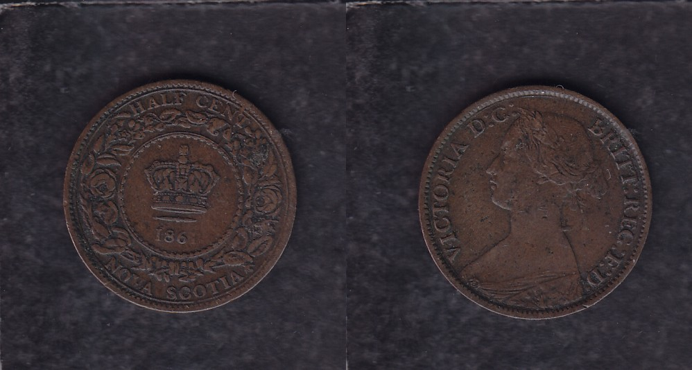 1861 CANADA NOVA SCOTIA HALF CENT COIN photo
